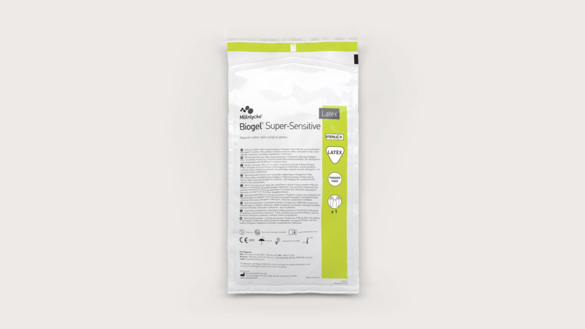 709e72b35c8 Bezpudrové latexové chirurgické rukavice Biogel Super-Sensitive ...